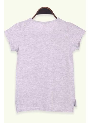 Breeze Kız Çocuk Tişört Gezgin Kız Baskılı Pullu Gri Melanj (8-12 Yaş) Gri